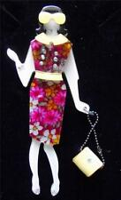 Quality Fever Art Deco Lucite 1960's Jacqui Kennedy Dress Lady Brooch Pin