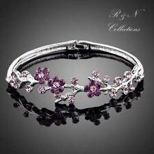 Purple Plum Blossom Platinum Plated Swarovski Crystal Bangle Bracelet