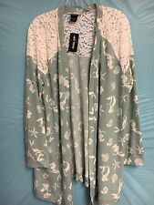 NWT Disney Womans Arial Sweater/Cardigan Mint Green/Cream Lace SZ.3X