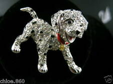 SIGNED SWAROVSKI DALMATIAN PUPPY DOG PIN / BROOCH RETIRED RARE NEW