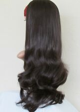 Very Dark Blown Extra XX Long Curly Natural Look 3/4 Half Wig Hairpiece 81304-4#