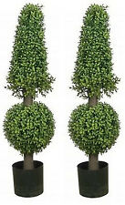 Two 38 inch Artificial Boxwood Cone Ball UV Topiary Trees 3 4 Outdoor Porch Pool