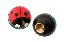 RED AND BLACK LADY BUG VALVE CAPS LOW RIDER BIKE BEACH CRUISER