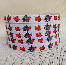 """2 meter, 9mm, 3/8"""" Tom and Jerry Printed grosgrain ribbon gift birthday ribbon"""