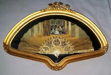 Antique Framed Hand Painted Fan French Carved Bone Sticks, Las Meninas Painting