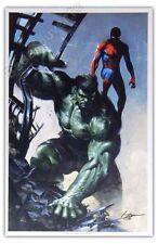 Affiche Dell'Otto Spiderman et Hulk signée 32x49 cm