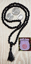 6mm Onyx Black Prayer Beads Hand Made Japa Mala Necklace