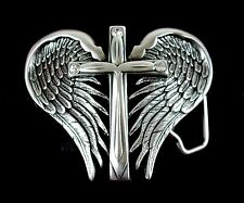 Nocona BLAZIN ROXX SILVER PLATED Wing and Cross Belt BUCKLE 37906 Religious