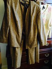 JOSEPHINE CHAUS Women's 3 PC Lot BROWN TWEED Wool Jacket 16 Pants Size 18 Top 2X