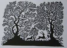 Chinese Hand made  Paper Cut/Silhouettes-Deer