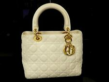 Authentic Christian Dior Lady Dior Leather Hand Bag GHW Beige T353