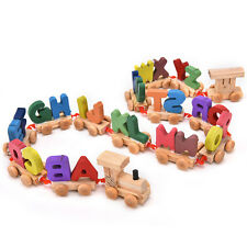 Kids Child Alphabet Number Wooden Train Blocks Baby Educational Toy Xmas Gifts A