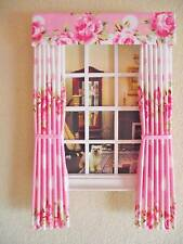 MINIATURE DOLLS HOUSE FURNITURE ACCESSORY CURTAINS DRAPES PINK SPOTS AND ROSES