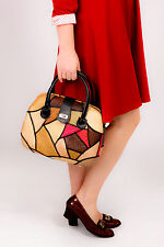 50s 60s style vintage woven wicker patchwork straw bag rockabilly MOD