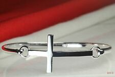 Solid Cross Heavy Sterling Silver 925 Ladies Brand New Bangle Solid Bracelet