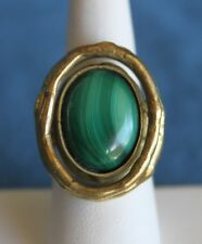 Vintage Signed MACHES MEXICO Brutalist Attributed Pal Kepenyes MALACHITE RING