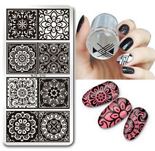 2pcs/set Lace Flower Nail Art Stamping Image Plate Stamp Stamper Scraper Kit DIY