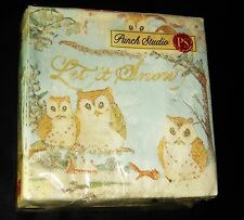 Punch Studio 40 Paper Beverage Napkins 3-ply Snow Owls Christmas 13238