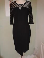 NEW Black Wrap style Wiggle Shift Dress 3/4 Mesh Sleeves & Mesh Front UK 16