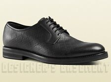 GUCCI mens 10.5* Black leather DIAMANTE Oxford CARNEY Derby shoes NIB Auth $750