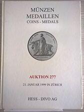 CATALOGO MUNZEN MEDAILLEN ZURICH AUKTION 277 JANUAR 1999 HESS - DIVO AG COINS