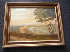 Original Seascape Seaside Tree Oil Painting on Board - Framed Signed