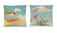 """2 X BLUE YELLOW SEASIDE BEACH PALM TREE THICK TAPESTRY 18"""" CUSHION COVERS"""
