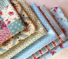 Fat Quarter Bundle 100% cotton blue patchwork Fabric Craft Shabby Chic