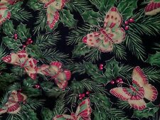 CHRISTMAS GOLD SHIMMERING BUTTERFLY PINE TREE HOLLY BERRIES LINED VALANCE 42x12