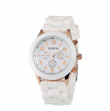 Silicone Designer jelly analog rubber watch men women kids Geneva White UK XMAS*