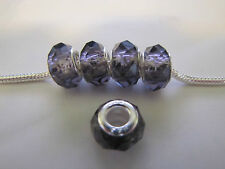 925 STAMPED PURPLE CRYSTAL FACETED BEAD FOR EUROPEAN  CHARM STYLE BRACELETS