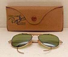World War II Pilot B & L Ray Ban Aviator Outdoorsman Gold Green Lens Steampunk