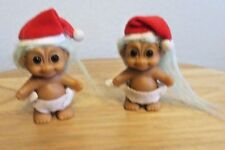 """Two Vintage Russ Santa Baby Troll Dolls with Diapers and Santa Hat 2 1/2"""""""