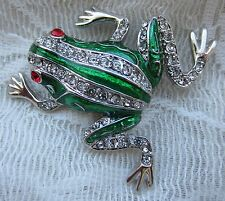 JOAN RIVERS GREEN FROG CRYSTALS SILVER TONE BROOCH PIN JEWELRY