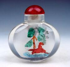 Peking Glass Inside Reverse Hand Painted Zodiac Horse Snuff Bottle #01021614