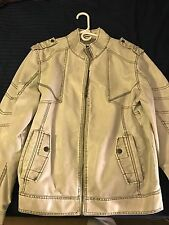 NEW with Tags!! Men's Guess Lance Moto White Fake Leather Jacket XL
