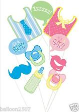 10 Baby Shower Photo Booth Props on Sticks Bib Dummy Pacifiers Bottle
