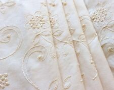4 DRAPES CANDLEWICK in Ivory Rich Embroidery on Heavy Cotton fully lined CUSTOM