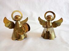 """Vintage Angel Figurine 2.5"""" Set of 2 Cymbals Candle Brass"""