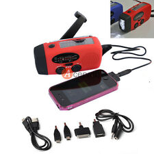 Emergency Solar Wind Up Hand Crank 3 LED Flashlight AM/FM Weather Radio Charger