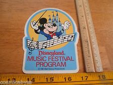 1981 Disneyland Music Festival program Sticker participants only unused