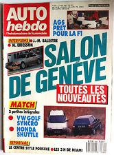 AUTO HEBDO du 11/03/1987; Salon de Genève/ Interview Balestre, Ericsson/ Synchro