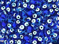 SET OF 100, 1 1/4 INCH ROUND BLUE GLASS EVIL EYE NAZAR BONCUGU GOOD LUCK AMULET