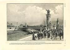 PONT ALEXANDRE III PARIS / L'ESPLANADE DES INVALIDES ANTIQUE PRINT 1900