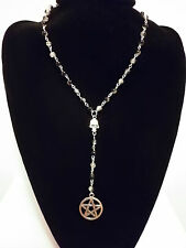 Black White Glass Beaded Skull & Pentagram Rosary Necklace Goth Pagan Wicca