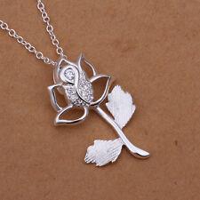 Damenhalskette Anhänger Blüte Zirkonia 45cm Halskette pl. mit  Sterlingsilber