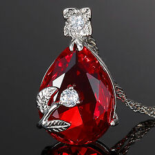 Fashion Jewelry Gift Pear Cut Red Ruby White Gold Gp Pendant Necklace Chain
