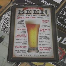 """How to order a BEER around the world"" Metal Tin Sign Vintage HOME BAR Decor"