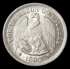 1882 SILVER CHILE 1 PESO BU CONDOR W SHIELD COIN SANTIAGO MINT