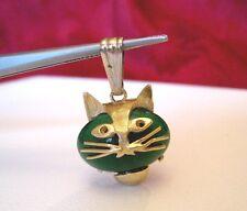 RARE 18K YELLOW GOLD GREEN JADE CAT FACE HEAD PENDANT 4.1 GRAMS RARE